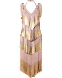 Hervé Léger | Fringed Metallic Bandage Dress | Lyst