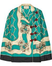 Gucci - Printed Silk-satin Twill Blouse - Lyst