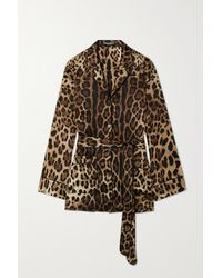 Dolce & Gabbana Diva Hemd Aus Satin Aus Einer Seidenmischung Mit Leopardenprint Und Bindegürtel - Braun