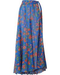 Caroline Constas - Hera Printed Cotton And Silk-blend Voile Maxi Skirt - Lyst