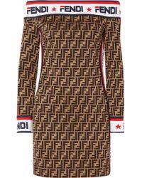 c21cabf56257 Fendi - Off-the-shoulder Printed Cotton-blend Mini Dress - Lyst