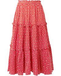 Lisa Marie Fernandez Ruffle Skirt - Red