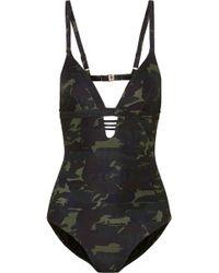 Melissa Odabash - Amazon Cutout Camouflage-print Swimsuit - Lyst