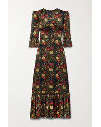The Vampire's Wife The Festival Ruffled Floral-print Silk-satin Maxi Dress - Black