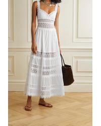 Charo Ruiz Sophia Crocheted Lace-paneled Cotton-blend Voile Maxi Dress - White
