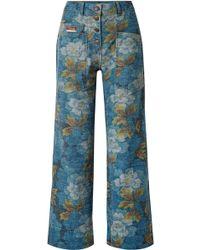 KENZO - Floral-print High-rise Straight-leg Jeans - Lyst