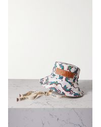 Loewe + Paula's Ibiza Leather-trimmed Printed Cotton-twill Bucket Hat - White