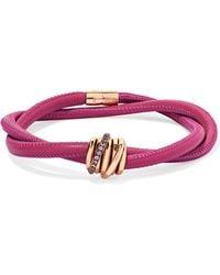 De Grisogono - Allegra Leather, 18-karat Rose Gold And Sapphire Bracelet - Lyst