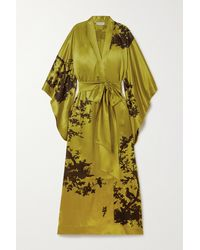 Carine Gilson Kimono Aus Bedrucktem Seidensatin Mit Bindegürtel - Grün