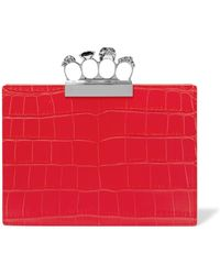 Alexander McQueen - Knuckle Embellished Croc-effect Leather Clutch - Lyst