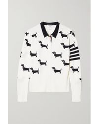 Thom Browne Hector Pointelle-trimmed Intarsia Merino Wool Cardigan - White