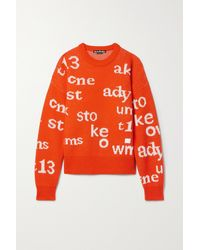 Acne Studios Wollpullover Mit Intarsienmuster Und Applikation - Orange