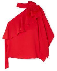 Costarellos - One-shoulder Ruffled Crepe And Organza Top - Lyst