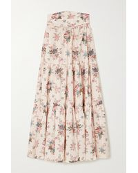 Anna Mason Tati Floral-print Cotton Midi Skirt - Natural