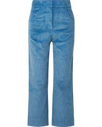 Sandy Liang - Zach Cropped Cotton-corduroy Wide-leg Trousers - Lyst