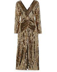 RIXO London Emmy Striped Sequined Chiffon Midi Dress - Black