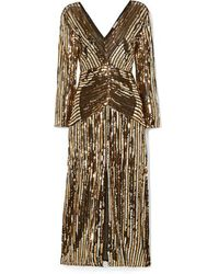 RIXO London Robe Midi En Mousseline À Sequins Et À Rayures Emmy - Noir