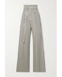 Philosophy Di Lorenzo Serafini Belted Striped Cotton-blend Drill Wide-leg Trousers - Blue