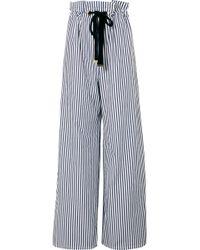 Mother Of Pearl Pantalon Large En Popeline De Coton Biologique À Rayures - Bleu