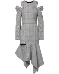 Monse - Cutout Striped Prince Of Wales Checked Woven Midi Dress - Lyst