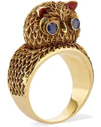 Fred Leighton - 1940s 14-karat Gold, Enamel And Sapphire Ring - Lyst