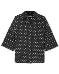 Balenciaga Vareuse Oversized Printed Cotton-poplin Shirt - Black