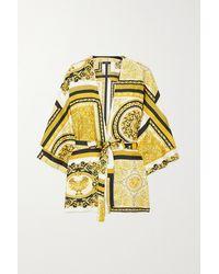Versace Belted Printed Silk-twill Robe - Metallic