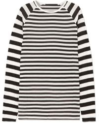 Haider Ackermann - Striped Silk-chiffon And Ribbed Jersey Top - Lyst