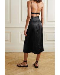 Le Kasha Cutout Silk-satin Midi Dress - Black