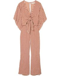 Faithfull The Brand - Tilos Tie-front Striped Voile Jumpsuit - Lyst