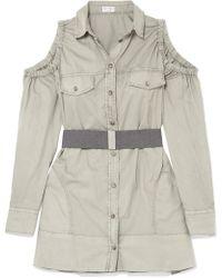 Brunello Cucinelli - Safari Belted Cold-shoulder Cotton-poplin Top - Lyst