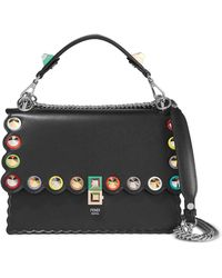 Fendi - Kan I Embellished Leather Shoulder Bag - Lyst
