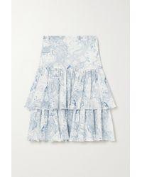 See By Chloé Gestufter Midirock Aus Bedrucktem Krepon Aus Einer Baumwoll-seidenmischung - Blau