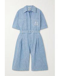 Fendi Belted Denim Jumpsuit - Blue