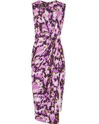 Jason Wu Collection Asymmetric Floral-print Stretch-jersey Dress - Purple