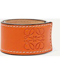 Loewe Embossed Leather Bracelet - Orange