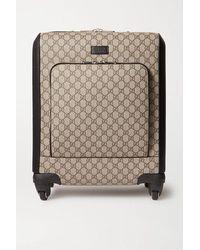 Gucci Grand Tourismo Koffer Aus Beschichtetem Canvas Mit Lederbesatz - Braun