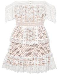 Self-Portrait Mini-robe Épaules Nues En Dentelle Guipure - Blanc