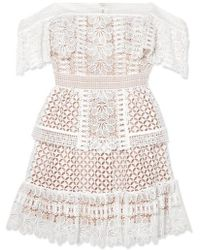 Self-Portrait Off-the-shoulder Guipure Lace Mini Dress - White