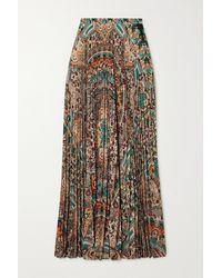 Etro Pleated Paisley-print Crepe De Chine Maxi Skirt - Multicolour