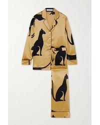 Olivia Von Halle Lila Pyjama Aus Bedrucktem Seidensatin - Mettallic