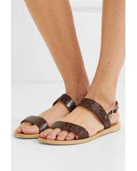 Ancient Greek Sandals Clio Leopard-print Leather Slingback Sandals - Brown