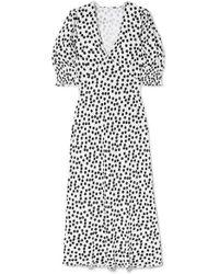 RIXO London Zadie Polka-dot Crepe Midi Dress - White