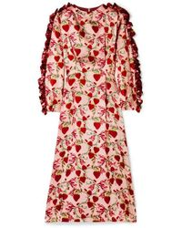 593e850af Mother Of Pearl - Wanda Ruffled Printed Silk-satin Midi Dress - Lyst