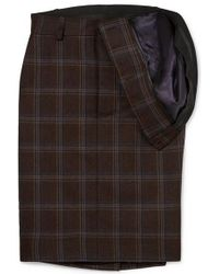 Y. Project Asymmetric Checked Wool Skirt - Brown