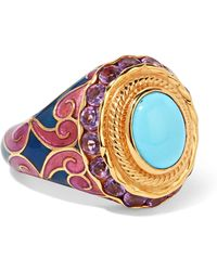 Percossi Papi - Gold-tone, Enamel, Crystal And Stone Ring - Lyst