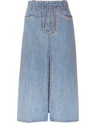 Miu Miu Lace-up Studded Denim Midi Skirt - Blue