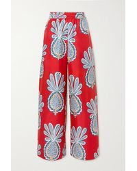 La DoubleJ Printed Silk-twill Wide-leg Pants - Red