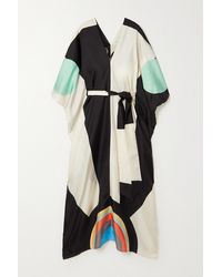 Louisa Parris Neville Belted Printed Silk-twill Maxi Dress - Black
