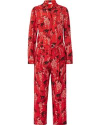 RED Valentino Floral print jumpsuit - Rouge